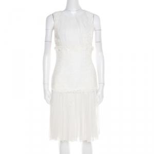 Oscar de la Renta White Chiffon and Tweed Lace Applique Sleeveless Dress S - used