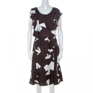 Oscar de la Renta Brown Abstract Print Silk Twill Ruffled Dress L - used