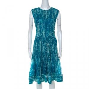 Oscar de La Renta Blue Printed Toile Silk Pleated Sleeveless Dress L - used
