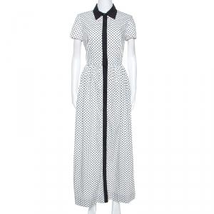 Oscar de la Renta White Flower Print Cotton Contrast Trim Shirt Dress S - used