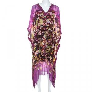 Oscar de la Renta Multicolor Printed Silk Crepe Kaftan M - used