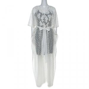 Oscar de la Renta White Crochet Maxi Belted Kaftan S - used
