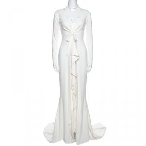 Oscar de la Renta Off White Crepe Cutout Detail Ruffled Gown S - used