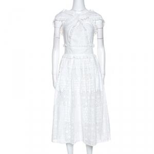 Oscar de la Renta White Eyelet Cotton Cross Front Dress S - used