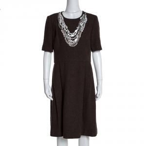 Oscar de la Renta Brown Textured Wool Embellished Short Sleeve Dress L - used