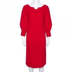Oscar de la Renta Red Wool Crepe Balloon Sleeve Midi Dress M - used