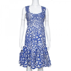 Oscar de la Renta Blue Floral Embroidered Mesh Sleeveless Dress M - used