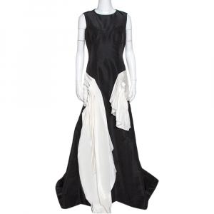 Oscar de la Renta Black Silk Faille Contrast Ruffled Trim Gown L - used