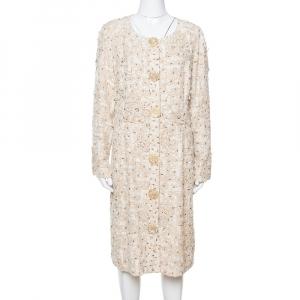 Oscar de la Renta Cream Silk Embellished Coat Dress XL - used