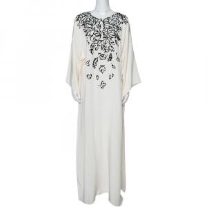 Oscar de la Renta Cream Silk Sequin Embellished Belted Kaftan M - used