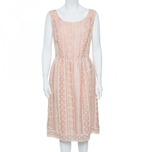 Oscar de la Renta Pale Pink Organza Silk Embroidered Sleeveless Dress XL - used