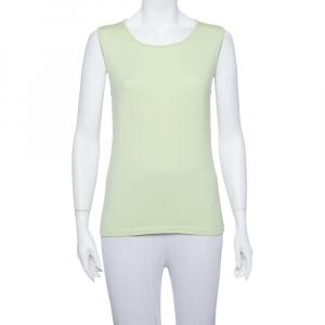 Oscar de la Renta Lime Green Cashmere Knit Tank Top L