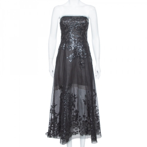 Oscar de la Renta Black Sequin Embellished Mesh Strapless Midi Dress S