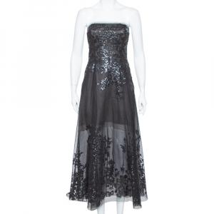 Oscar de la Renta Black Sequin Embellished Mesh Strapless Midi Dress S - used