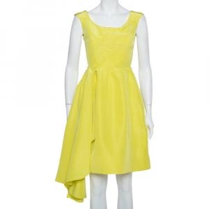 Oscar de la Renta Yellow Silk Front Drape Detail Sleeveless Midi Dress S - used