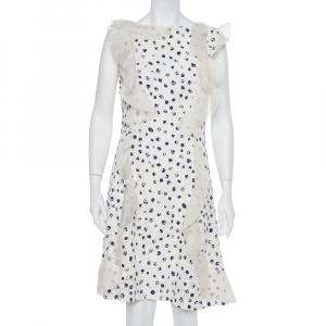 Oscar de la Renta White Painted Effect Lace Ruffle Detail Short Dress M - used