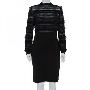 Oscar de la Renta Black Silk Knit Ruffle Trim Detail Sheath Dress XL - used