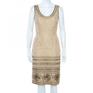 Oscar de la Renta Beige Tweed Sequin Embellished Sleeveless Sheath Dress S - used