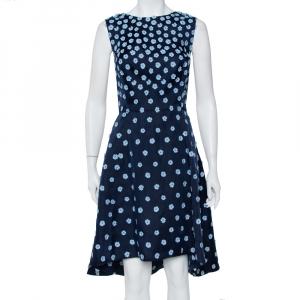 Oscar de la Renta Navy Blue Silk Floral Applique Detail Sleeveless Hi-Low Dress L - used