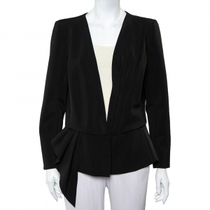 Oscar de la Renta Black Knit Draped Detail Collarless Button Front Blazer XL