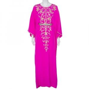 Oscar de la Renta Fuschia Pink Silk Embroidered Detail Belted Maxi Dress M - used