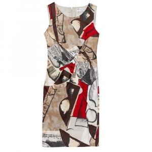 Oscar de la Renta Brown Musical Printed Cotton Sleeveless Sheath Dress S - used