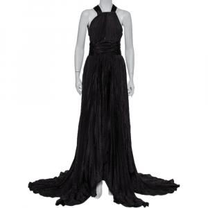 Oscar de la Renta Black Silk Plissé Asymmetrical Hem Detail Flared Gown M - used