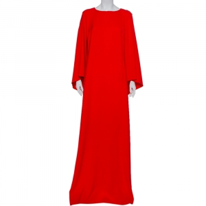 Oscar de la Renta Red Silk Crepe Cape Detail Gown M - used