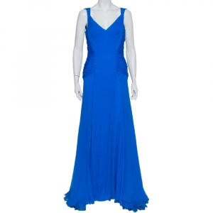 Oscar de la Renta Blue Silk Chiffon Draped Sleeveless Gown M - used