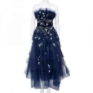 Oscar de la Renta Navy Blue Tulle Sequin Embellished Tiered Midi Dress M - used