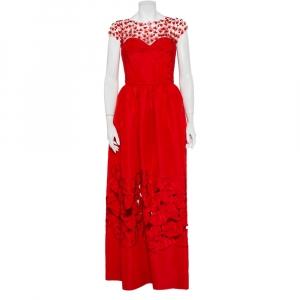 Oscar de la Renta Red Sequin Floral Embellished Cutout Detail Ball Gown L - used