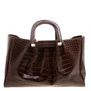 Oscar De La Renta Brown Croc Embossed Leather Tote