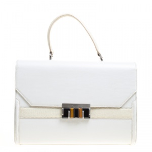 Oscar de la Renta White/Cream Leather Top Handle Bag