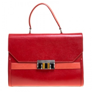 Oscar de la Renta Red Leather Top Handle Bag