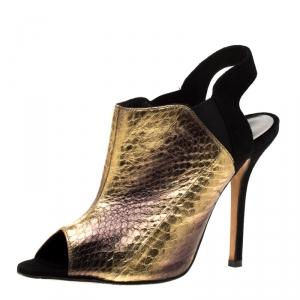 Oscar de la Renta Metallic Gold Embossed Elaphe Leather Penelope Peep Toe Sandals Size 38 - used