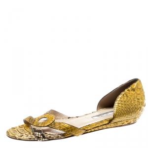 Oscar De La Renta Yellow Python Flat Sandals Size 36 - used