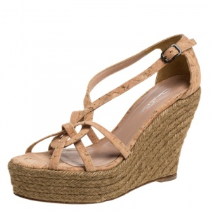 Oscar de la Renta Beige Cork Espadrille Platform Wedge Sandals Size 36 - used