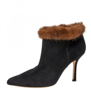 Osca De La Renta Black Suede Leather And Mink Fur Pointed Toe Ankle Boots Size 38.5 - used