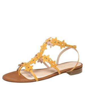 Oscar de la Renta Yellow Floral Jenisa Ankle Strap Flat Sandals Size 39.5