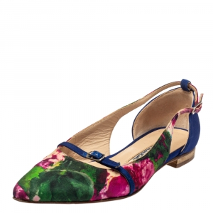 حذاء فلات باليه أوسكار دي لارينتا مقدمة مدببة كانفاس متعدد الألوان مقاس 37