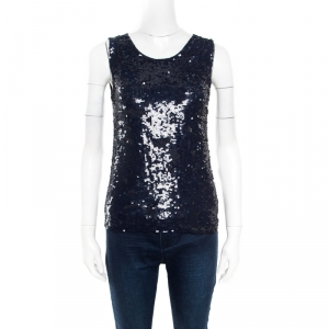 P.A.R.O.S.H. Navy Blue Sequin Paillette Embellished Sleeveless Blouse XS