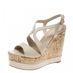 Paloma Barceló Beige Leather Mafafa Wedge Platform Sandals Size 39