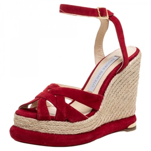 Paloma Barceló Red Suede Leather Espadrille Wedge Platform Ankle Strap Sandals Size 36.5