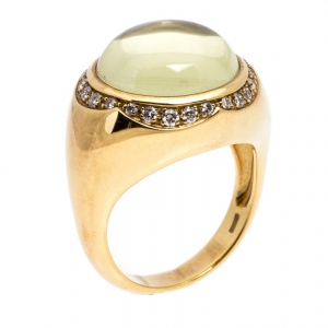 Pasquale Bruni Yellow Cabochon Diamond 18k Yellow Gold Ring 57