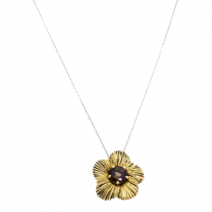 Pasquale Bruni Penelope Smoky Quartz 18k Two Tone Gold Flower Pendant Necklace