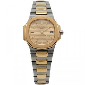 ساعة يد نسائية باتيك فيليب ناوتليوس مينا مؤشرات ذهبية ستانليس ستيل و ذهب أصفر 29 مم