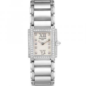 Patek Philippe Silver Diamonds 18K White Gold Twenty-4 4908/310G Women's Wristwatch 22 x 26 MM