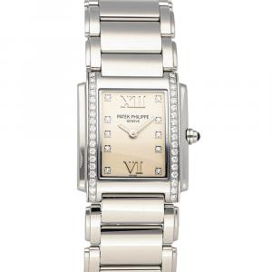 Patek Philippe Silver Diamonds Stainless Steel Twenty 4 4910/10A-011 Women's Wristwatch 25 x 30 MM