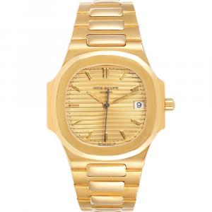 Patek Philippe Champagne 18k Yellow Gold Nautilus Women's Wristwatch 32 MM