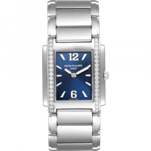 Patek Philippe Blue Diamonds Stainless Steel Twenty-4 4910 Women's Wristwatch 25 x 30 MM